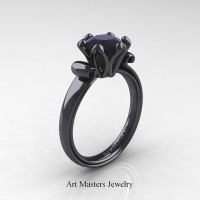Antique 14K Black Gold 1.5 Ct Black Diamond Designer Solitaire Engagement Ring AR127-14KBGBD
