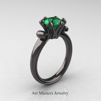 Antique 14K Black Gold 1.5 Ct Emerald Designer Solitaire Engagement Ring AR127-14KBGEM