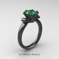 Antique 14K Black Gold 1.5 Ct Emerald Designer Solitaire Engagement Ring AR127-14KBGEM