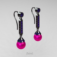 Heritage Classic 14K Black Gold Fuchsia Pink Freshwater Pearl Blue Sapphire Drop Earrings E101-14KBGBSFPP