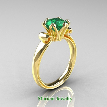 Mariam-Jewelry-Antique-14K-Yellow-Gold-15-Ct-Emeraldar-Solitaire-Engagement-Ring-AR127-14KYGEM-P
