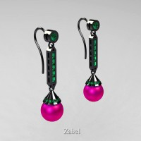 Heritage Classic 14K Black Gold Fuchsia Pink Freshwater Pearl Emerald Drop Earrings E101-14KBGEMFPP