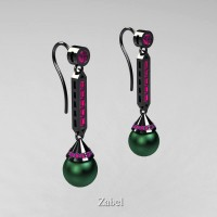 Heritage Classic 14K Black Gold Green Freshwater Pearl Pink Sapphire Drop Earrings E101-14KBGPSGP