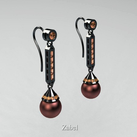 Zabel-Heritage-Classic-14K-Black-Gold-Freshwater-Brown-Pearl-Champagne-Diamond-Drop-Earrings-R101-14KBGCHDBP-P