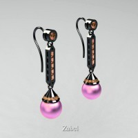 Heritage Classic 14K Black Gold Light Pink Freshwater Pearl Champagne Diamond Drop Earrings E101-14KBGCHDLP