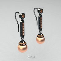 Heritage Classic 14K Black Gold Peach Freshwater Pearl Champagne Diamond Drop Earrings E101-14KBGCHDPP