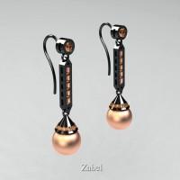 Heritage Classic 14K Black Gold Peach Freshwater Pearl Champagne Diamond Drop Earrings E101-14KBGCHDPP
