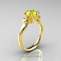 Antique 14K Yellow Gold 1.5 Ct Yellow Sapphire Designer Solitaire Engagement Ring AR127-14KYGYS