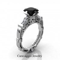 Art Masters Caravaggio 14K White Gold 1.0 Ct Black and White Diamond Engagement Ring R623P-14KWGDBD