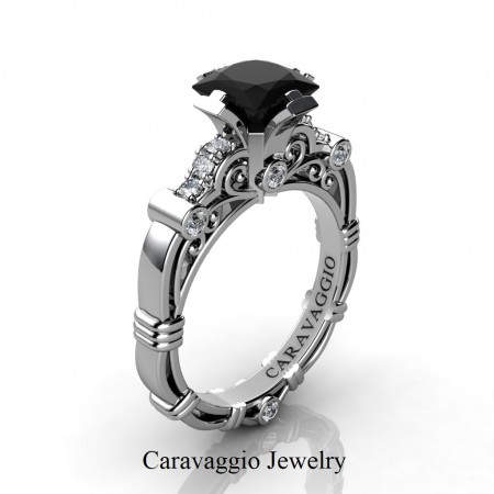 Art-Masters-Caravaggio-14K-White-Gold-1-25-Ct-Princess-Black-and-White-Diamond-Engagement-Ring-R623P-14KWGDBD