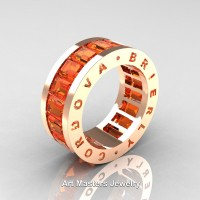 Mens Modern 14K Rose Gold Orange Sapphire Channel Cluster Infinity Wedding Band R174-14KRGOS