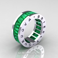 Mens Modern 14K White Gold Emerald Channel Cluster Infinity Wedding Band R174-14KWGEM