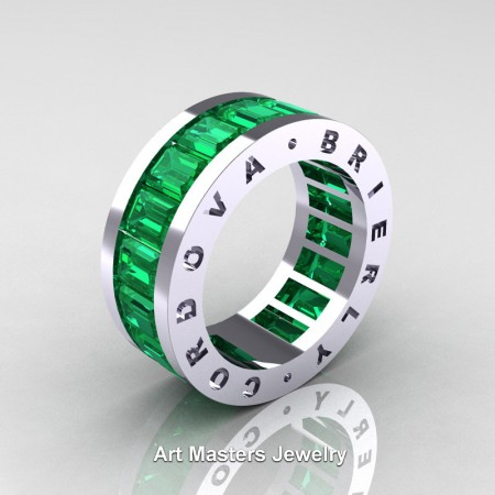 Cordova-Brierly-Mens-Modern-14K-White-Gold-Emerald-Channel-Cluster-Infinity-Wedding-Band-R174-14KWGEM-P