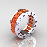 Mens Modern 14K White Gold Orange Sapphire Channel Cluster Infinity Wedding Band R174-14KWGOS