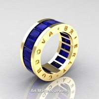 Mens Modern 14K Yellow Gold Blue Sapphire Channel Cluster Infinity Wedding Band R174-14KYGBS