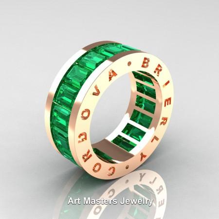 Cordova-Brierly-Mens-Modern-14K-Yellow-Gold-Emerald-Channel-Cluster-Infinity-Wedding-Band-R174-14KYGEM-P