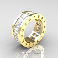 Mens Modern 14K Yellow Gold White Sapphire Channel Cluster Infinity Wedding Band R174-14KYGWS