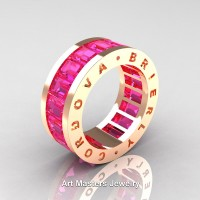 Womens Modern 14K Rose Gold Pink Sapphire Channel Cluster Infinity Wedding Band R174F-14KRGPS