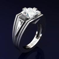 Mens Modern 14K White Gold Sandblast 4.0 Ct Princess and Triangle White Sapphire Wedding Ring A1006M-14KWGSWS