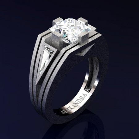 Mens-Modern-14K-Sandblast-White-Gold-4-0-Carat-Princess-and-Triangle-White-Sapphire-Wedding-Ring-A1006M-14KWGSWS-P2