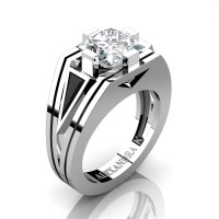 Mens Modern 14K White Gold 4.0 Ct Princess White Sapphire Triangle Black Diamond Wedding Ring A1006M-14KWGBDWS