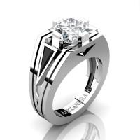 Mens Modern 14K White Gold 4.0 Ct Princess White Sapphire Triangle Black Diamond Wedding Ring A1006M-14KWGBDWS