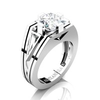 Mens Modern 14K White Gold 4.0 Ct Princess and Triangle White Sapphire Wedding Ring A1006M-14KWGWS