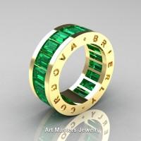 Mens Modern 14K Yellow Gold Emerald Channel Cluster Infinity Wedding Band R174-14KYGEM