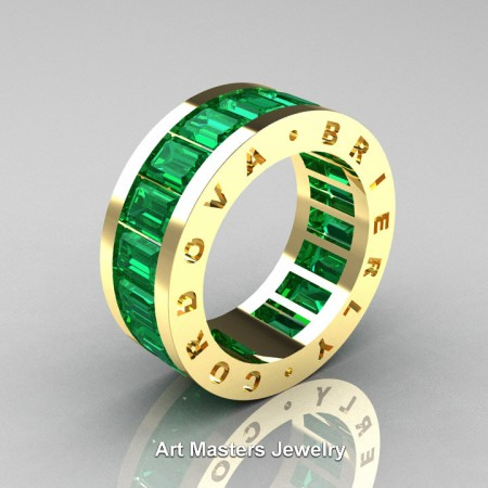 Mens-Modern-Yellow-Gold-Emerald-Channel-Cluster-Infinity-Wedding-Band-R174-YGEM-P