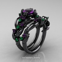 Nature Classic 14K Black Gold 1.0 Ct Amethyst Emerald Leaf and Vine Engagement Ring Wedding Band Set R340SG-14KBGEMAM