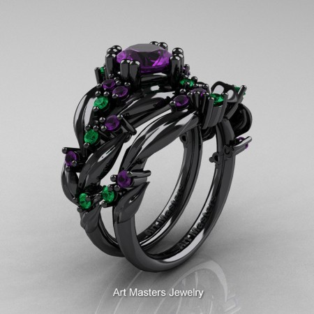 Nature-Classic-14K-Black-Gold-1-0-Ct-Amethyst-Emerald-Leaf-and-Vine-Engagement-Ring-Wedding-Band-Set-R340S-14KBGEMAM-P