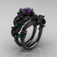 Nature Classic 14K Black Gold 1.0 Ct Amethyst Emerald Leaf and Vine Engagement Ring Wedding Band Set R340SS-14KBGEMAM