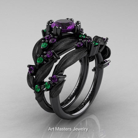 Nature-Classic-14K-Black-Gold-1-0-Ct-Amethyst-Emerald-Leaf-and-Vine-Engagement-Ring-Wedding-Band-Set-R340SS-14KBGEMAM-P