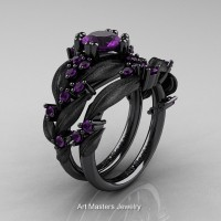 Nature Classic 14K Black Gold 1.0 Ct Amethyst Leaf and Vine Engagement Ring Wedding Band Set R340SS-14KBGAM