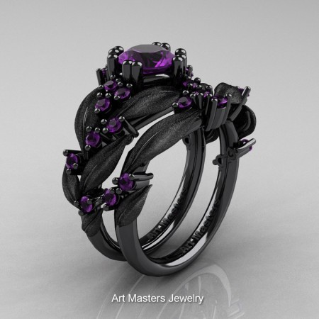Nature-Classic-14K-Black-Gold-1-0-Ct-Amethyst-Leaf-and-Vine-Engagement-Ring-Wedding-Band-Set-R340SS-14KBGAM-P