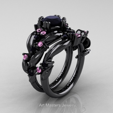 Nature-Classic-14K-Black-Gold-1-0-Ct-Black-Diamond-Light-Pink-Sapphire-Leaf-and-Vine-Engagement-Ring-Wedding-Band-Set-R340S-14KBGLPSBD-P