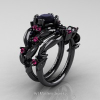 Nature Classic 14K Black Gold 1.0 Ct Black Diamond Pink Sapphire Leaf and Vine Engagement Ring Wedding Band Set R340SG-14KBGPSBD