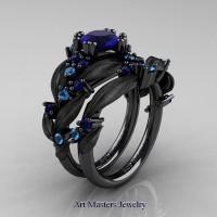 Nature Classic 14K Black Gold 1.0 Ct Blue Sapphire Blue Topaz Leaf and Vine Engagement Ring Wedding Band Set R340SS-14KBGBTBS