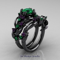 Nature Classic 14K Black Gold 1.0 Ct Emerald Amethyst Leaf and Vine Engagement Ring Wedding Band Set R340SG-14KBGAMEM