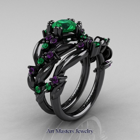 Nature-Classic-14K-Black-Gold-1-0-Ct-Emerald-Amethyst-Leaf-and-Vine-Engagement-Ring-Wedding-Band-Set-R340S-14KBGAMEM-P