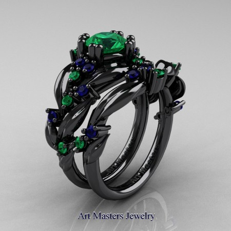 Nature-Classic-14K-Black-Gold-1-0-Ct-Emerald-Blue-Sapphiret-Leaf-and-Vine-Engagement-Ring-Wedding-Band-Set-R340S-14KBGBSEM-P