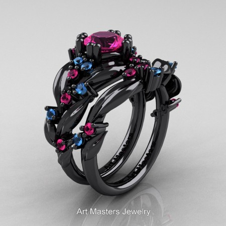 Nature-Classic-14K-Black-Gold-1-0-Ct-Pink-Sapphire-Blue-Topaz-Leaf-and-Vine-Engagement-Ring-Wedding-Band-Set-R340S-14KBGBTPS-P