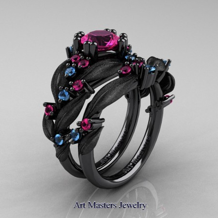 Nature-Classic-14K-Black-Gold-1-0-Ct-Pink-Sapphire-Blue-Topaz-Leaf-and-Vine-Engagement-Ring-Wedding-Band-Set-R340SS-14KBGBTPS-P