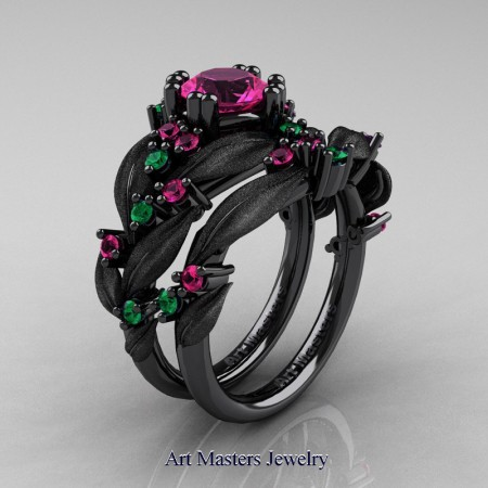 Nature-Classic-14K-Black-Gold-1-0-Ct-Pink-Sapphire-Emerald-Leaf-and-Vine-Engagement-Ring-Wedding-Band-Set-R340SS-14KBGEMPS-P