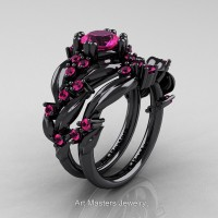 Nature Classic 14K Black Gold 1.0 Ct Pink Sapphire Leaf and Vine Engagement Ring Wedding Band Set R340SG-14KBGPS