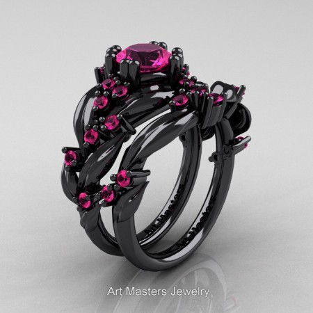 Nature-Classic-14K-Black-Gold-1-0-Ct-Pink-Sapphire-Leaf-and-Vine-Engagement-Ring-Wedding-Band-Set-R340S-14KBGPS-P
