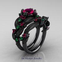 Nature Classic 14K Black Gold 1.0 Ct Rose Ruby Emerald Leaf and Vine Engagement Ring Wedding Band Set R340S2-14KBGEMRR