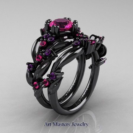 Nature-Classic-14K-Black-Gold-1-0-Ct-Pink-Sapphiret-Amethyst-Leaf-and-Vine-Engagement-Ring-Wedding-Band-Set-R340S-14KBGAMPS-P