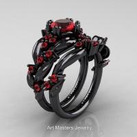 Nature Classic 14K Black Gold 1.0 Ct Ruby Leaf and Vine Engagement Ring Wedding Band Set R340SG-14KBGR