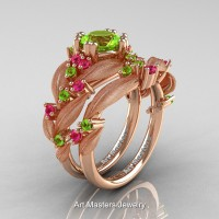 Nature Classic 14K Rose Gold 1.0 Ct Peridot Pink Sapphire Leaf and Vine Engagement Ring Wedding Band Set R340SS-14KRGPSP